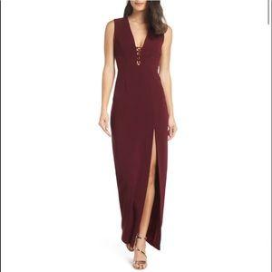 NWT Wayf The Casey Plunge Neck Dress Burgundy Med